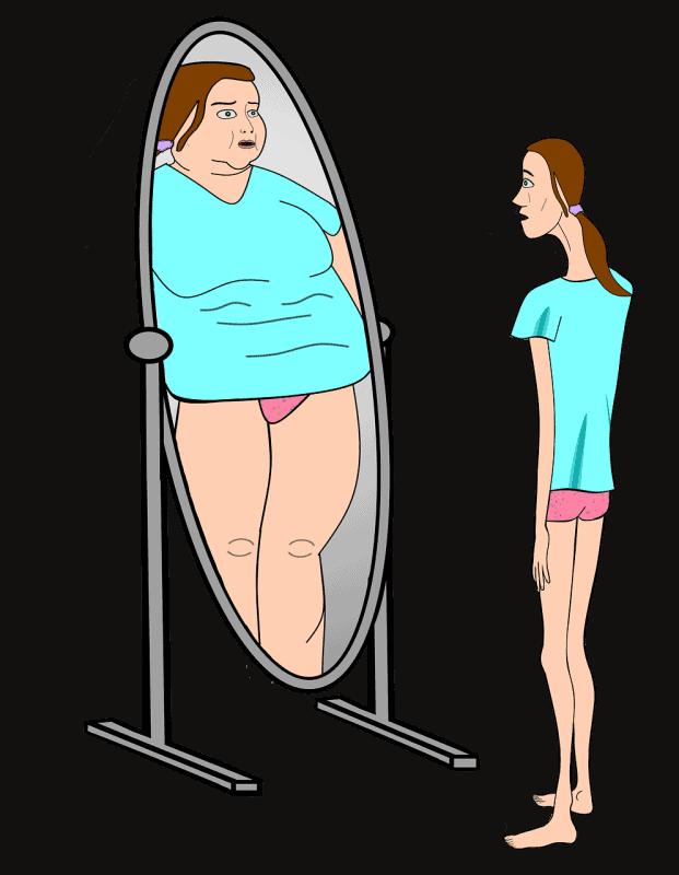 אישה מסתכל במראה